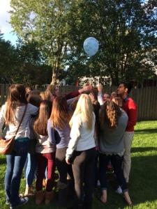 holding balloon